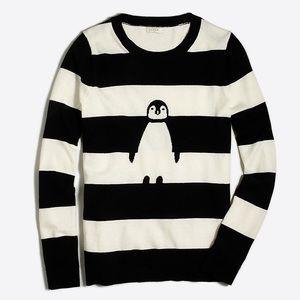J. Crew Striped Intarsia Penguin Teddie Sweater